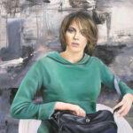 Mädchen mit schwarzer Tasche | 180 x 130 cm | Öl auf Leinwand